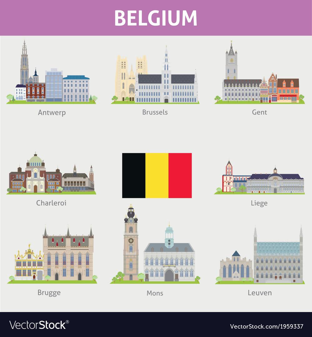 Begium symbols of cities vector | Price: 1 Credit (USD $1)