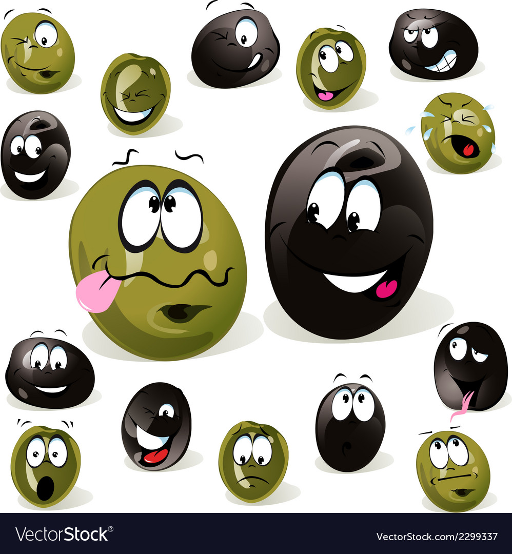 Black and green olive cartoon with facial vector | Price: 1 Credit (USD $1)