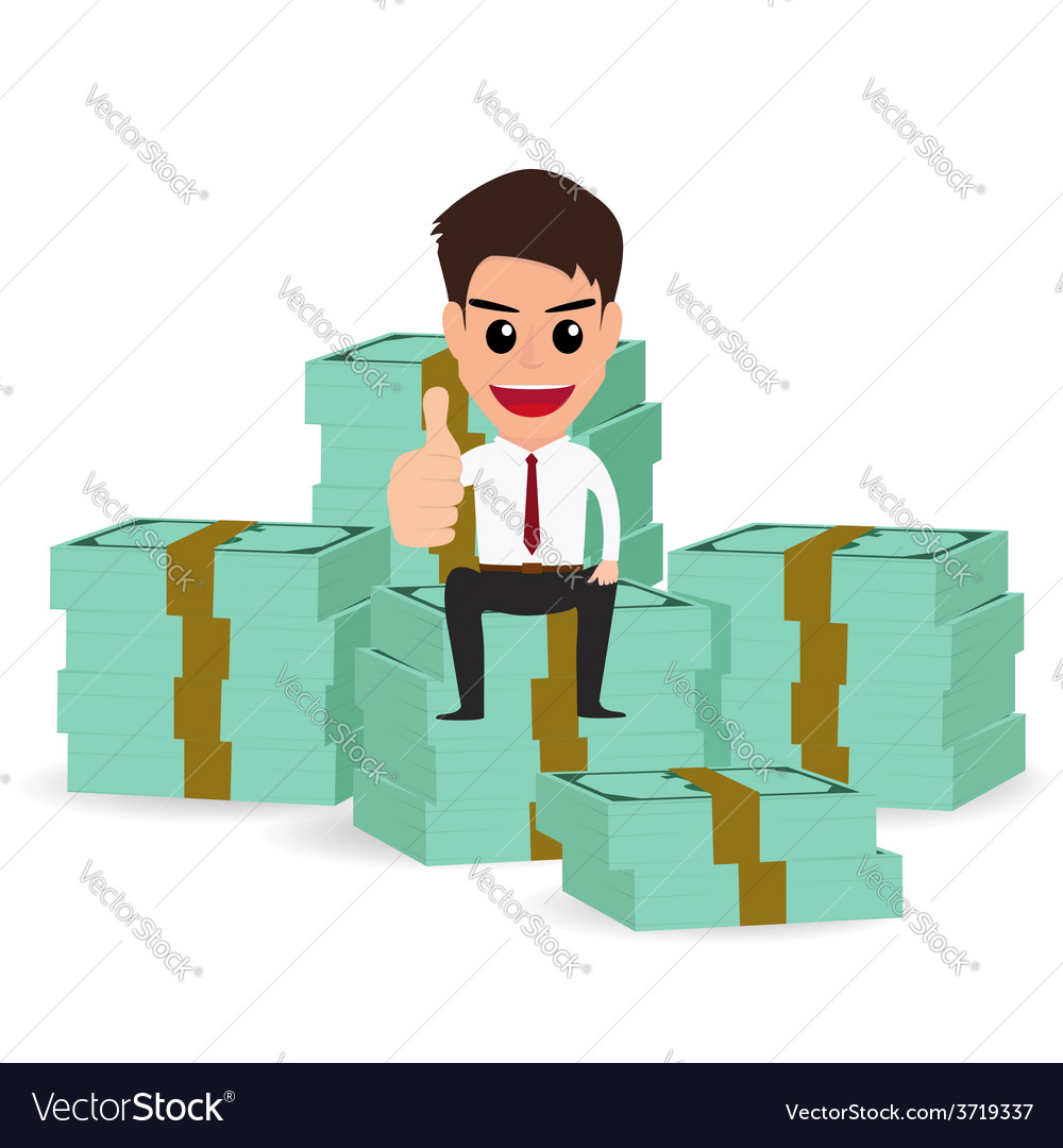 Businessman sitting on money stacks vector | Price: 1 Credit (USD $1)