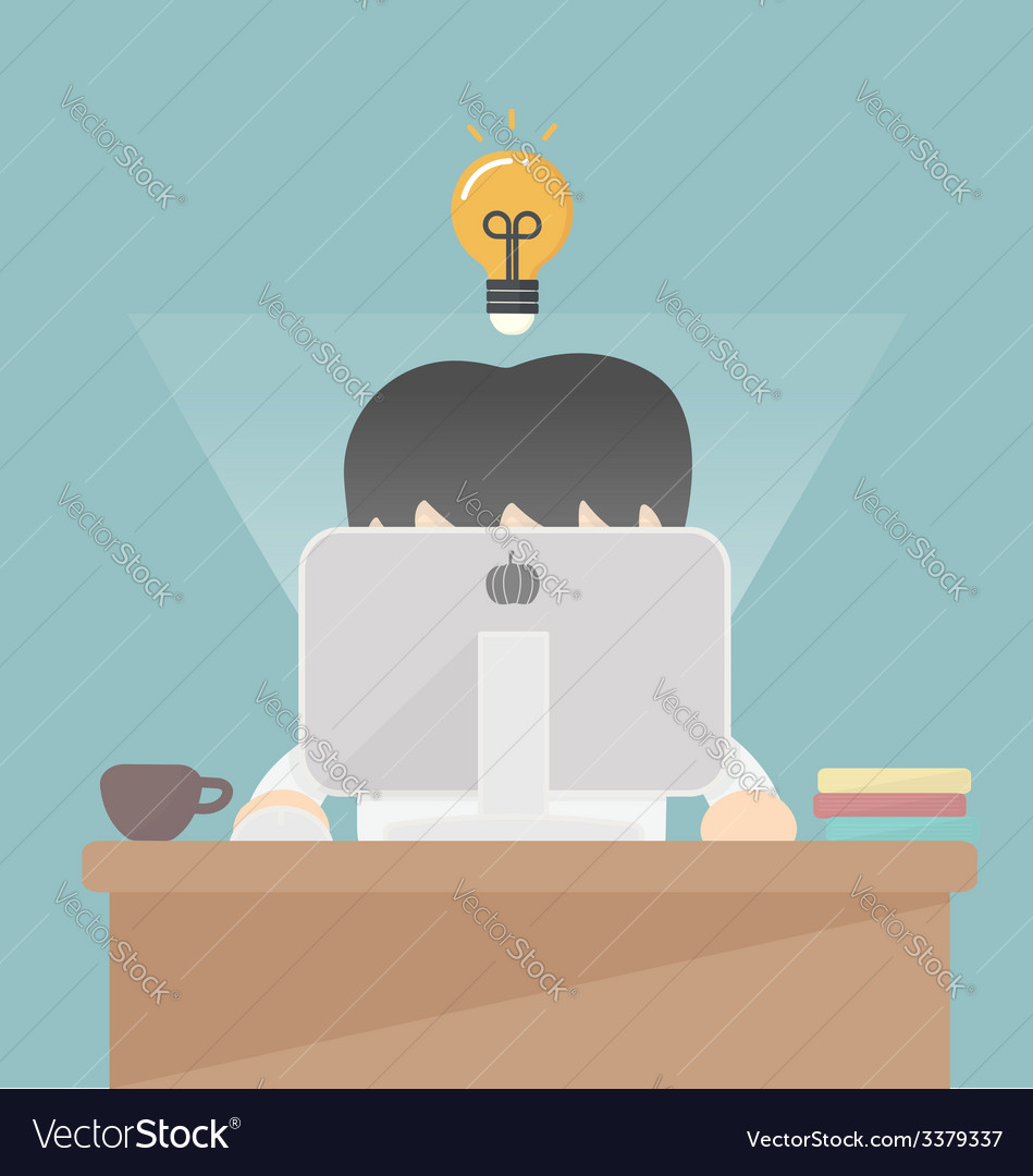 Businessman working at the computer vector | Price: 1 Credit (USD $1)