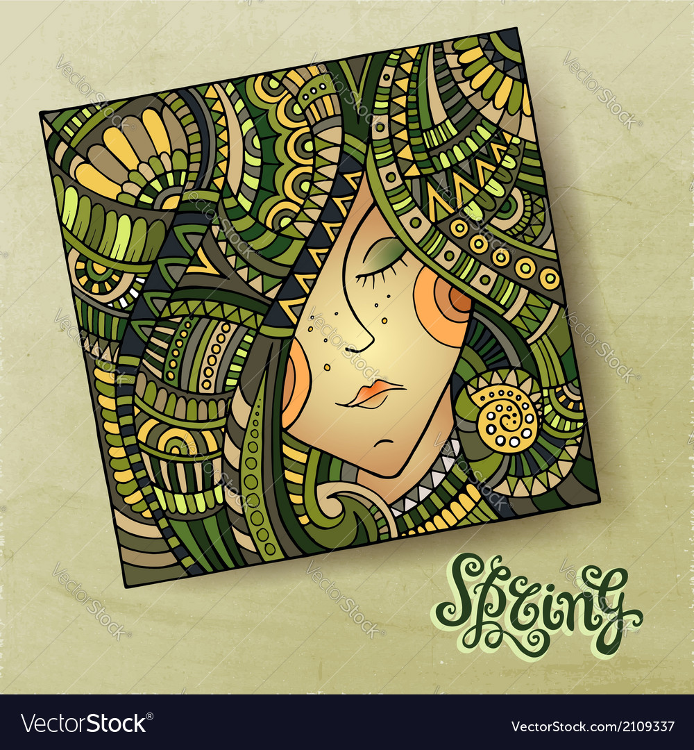 Decorative spring beautiful girl portrait vector | Price: 1 Credit (USD $1)