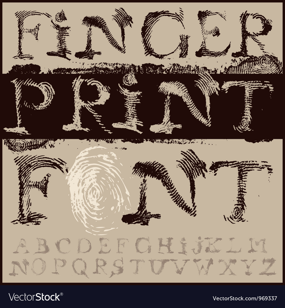 Fingerprint font vector | Price: 1 Credit (USD $1)