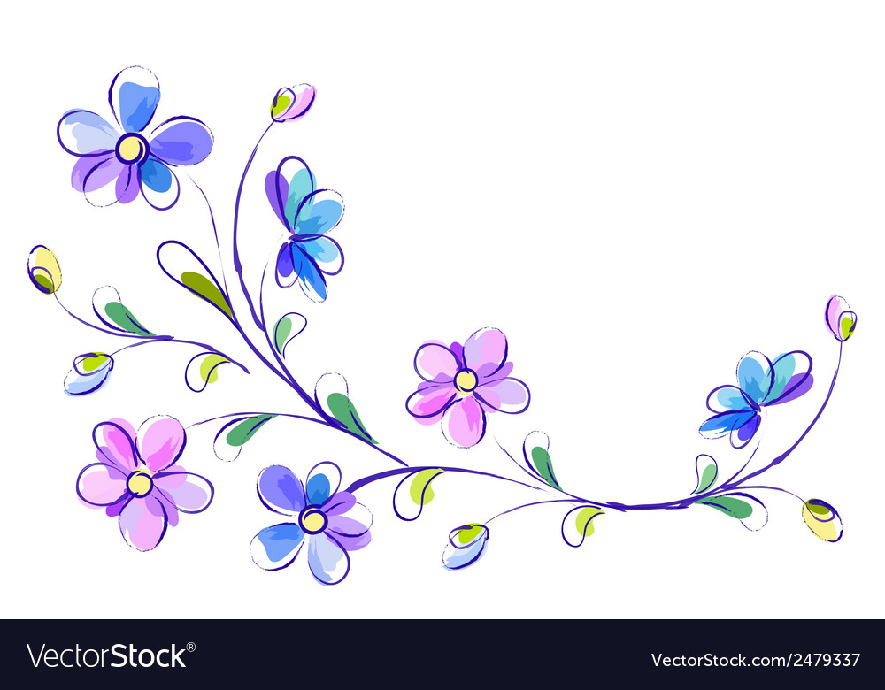 Horizontal white background with blue flowers vector | Price: 1 Credit (USD $1)