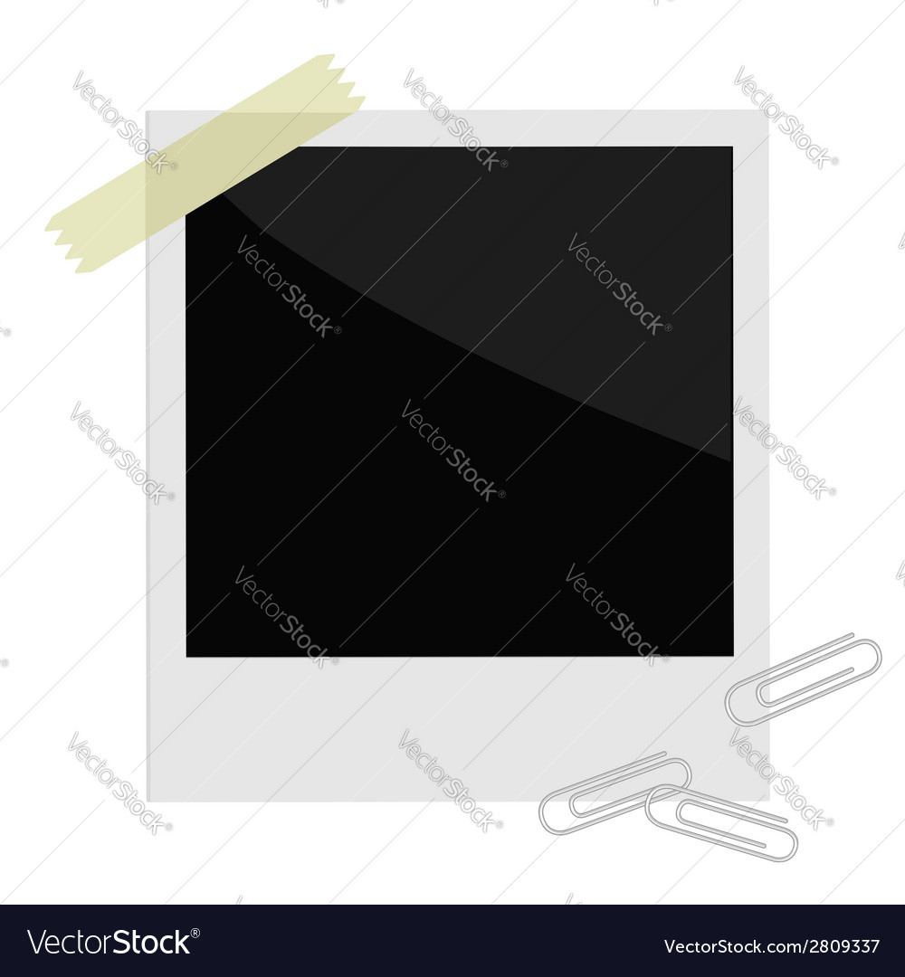 Isolated instant photo with tape and paperclips vector | Price: 1 Credit (USD $1)