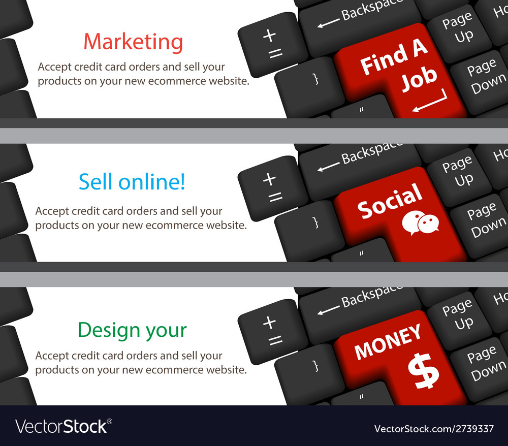 Keyboard for find a job social money banner vector | Price: 1 Credit (USD $1)