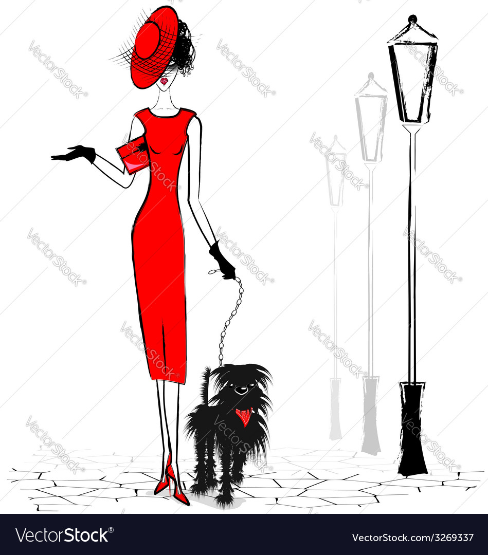 Lady with black dog vector | Price: 1 Credit (USD $1)