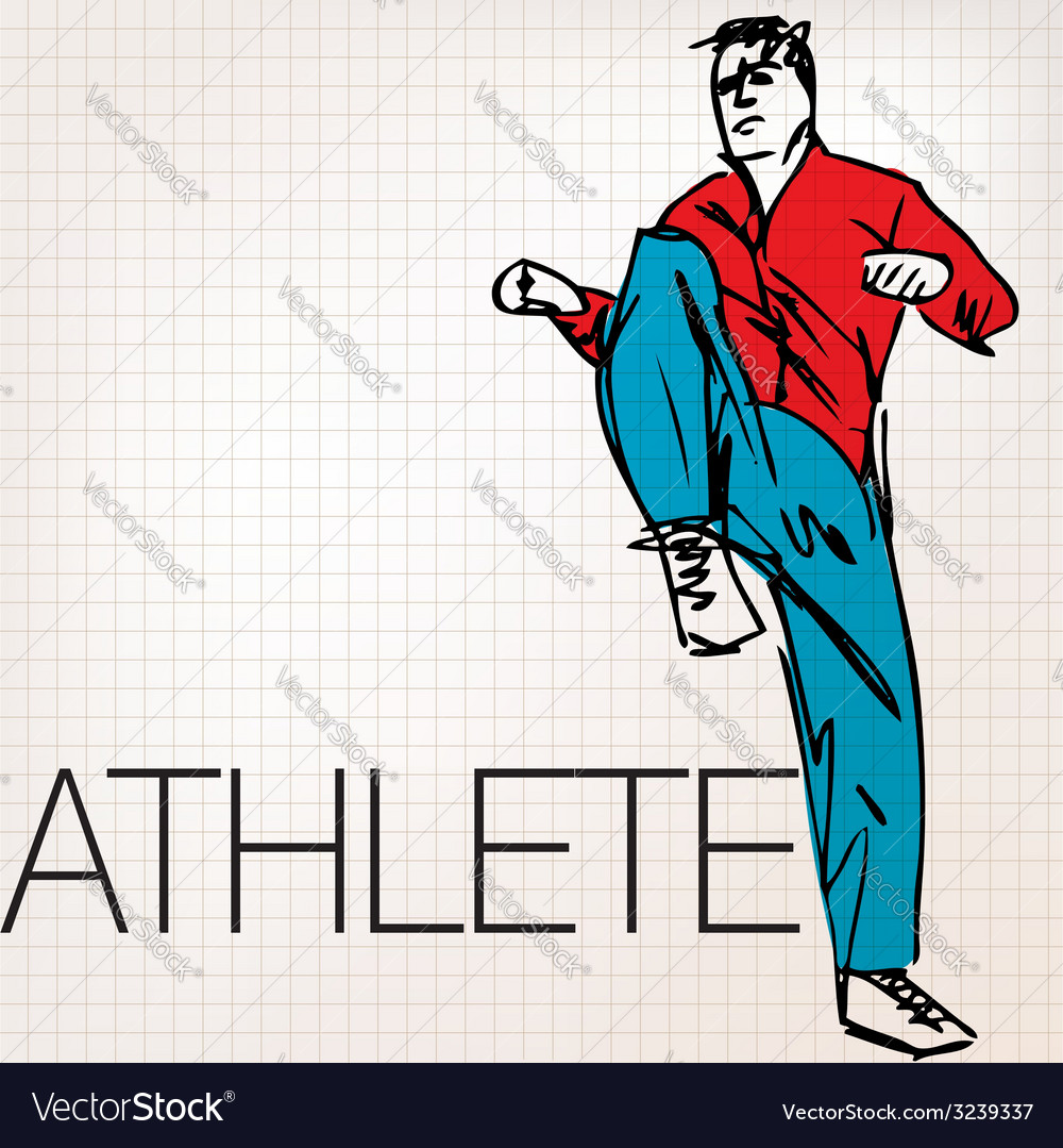 Man doing stretching exercises at the gym vector | Price: 1 Credit (USD $1)
