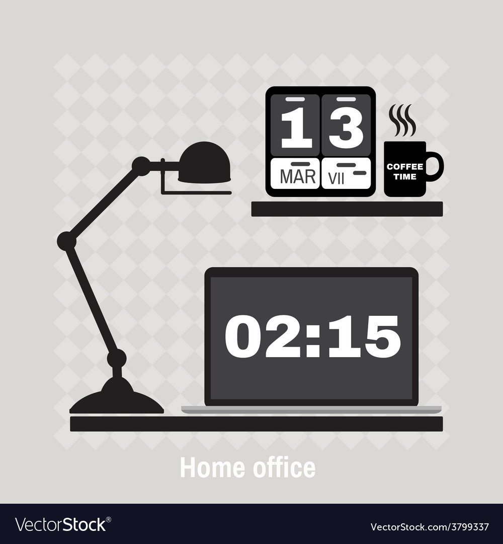 Modern office workspace flat minimalistic style vector | Price: 1 Credit (USD $1)