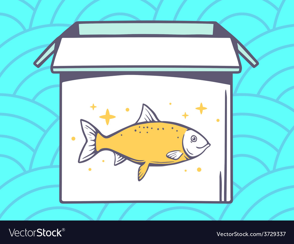 Open box with icon of fish on blue patte vector | Price: 1 Credit (USD $1)