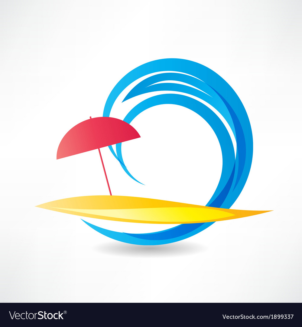 Relaxing on the beach abstraction icon vector   Price: 1 Credit (USD $1)