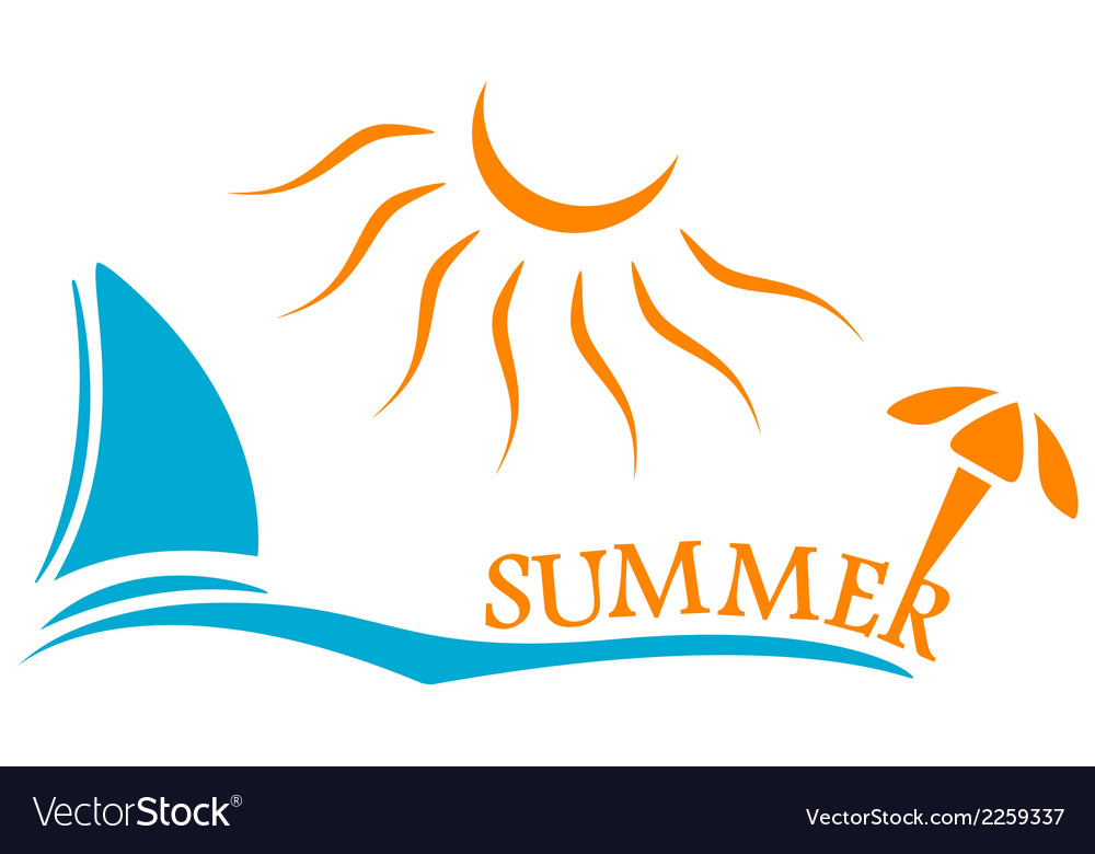 Summer time symbol with yacht and sun vector | Price: 1 Credit (USD $1)