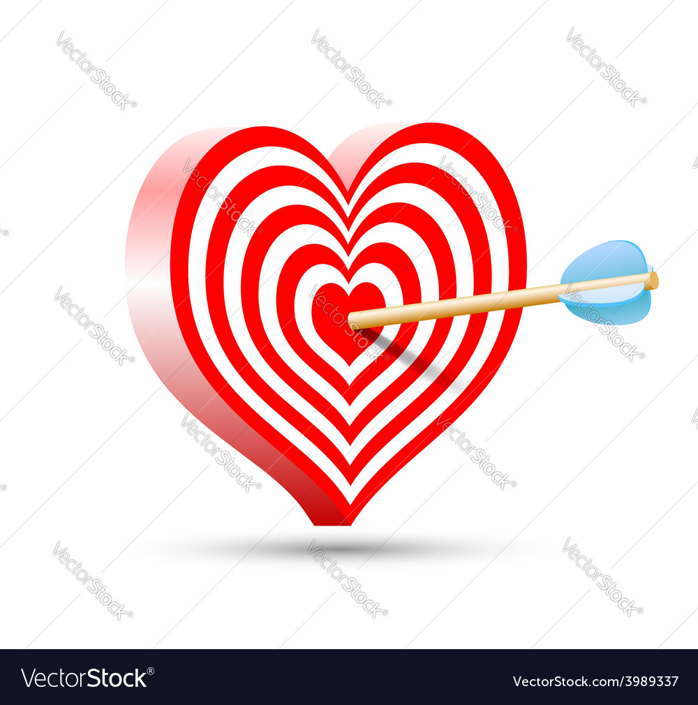 Target in the form of heart and arrow vector | Price: 1 Credit (USD $1)