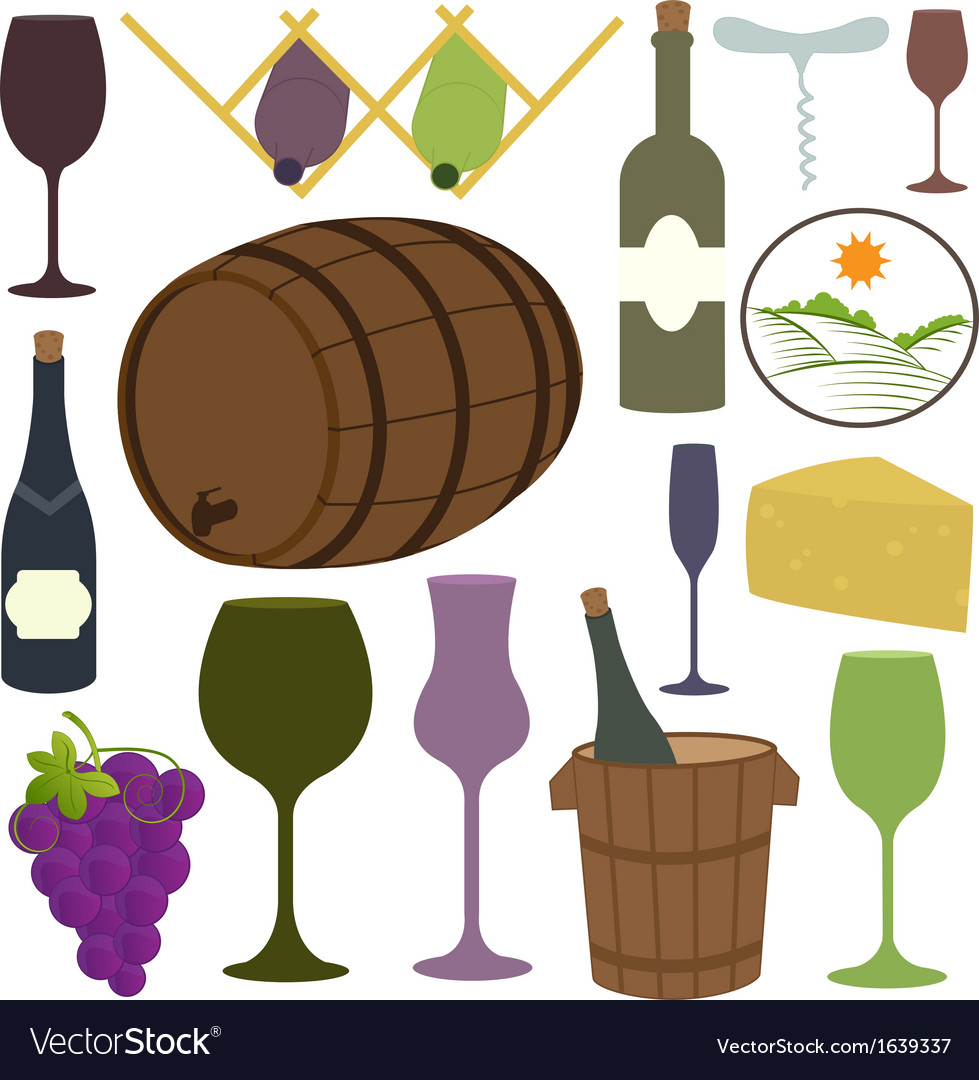 Vintage wine icons collection vector | Price: 1 Credit (USD $1)
