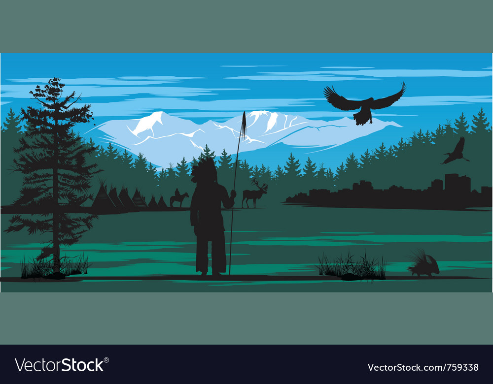 American indian on the pine wood and snow mountain vector | Price: 3 Credit (USD $3)