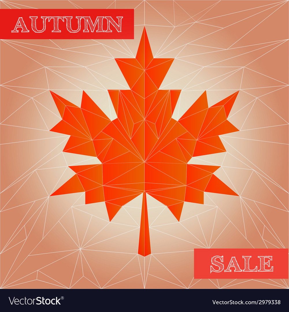 Autumn polygonal sale poster vector | Price: 1 Credit (USD $1)