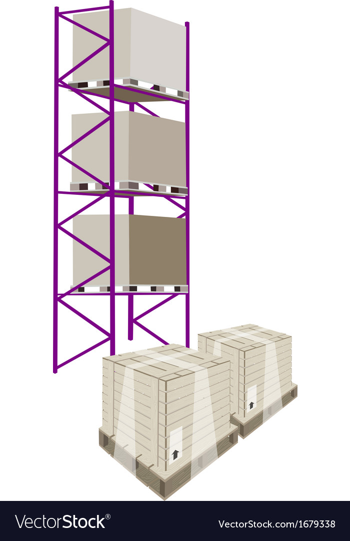 Cargo shelf with shipping box in plastic wrap vector | Price: 1 Credit (USD $1)