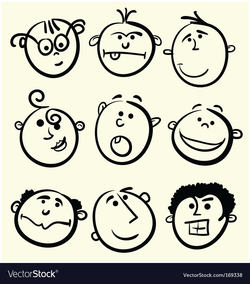 Cartoon face collection vector | Price: 1 Credit (USD $1)