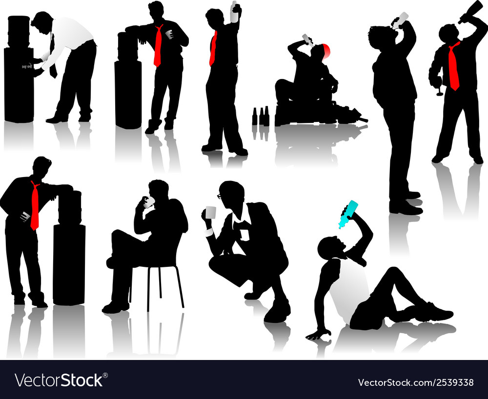 Drinking men silhouettes vector | Price: 1 Credit (USD $1)