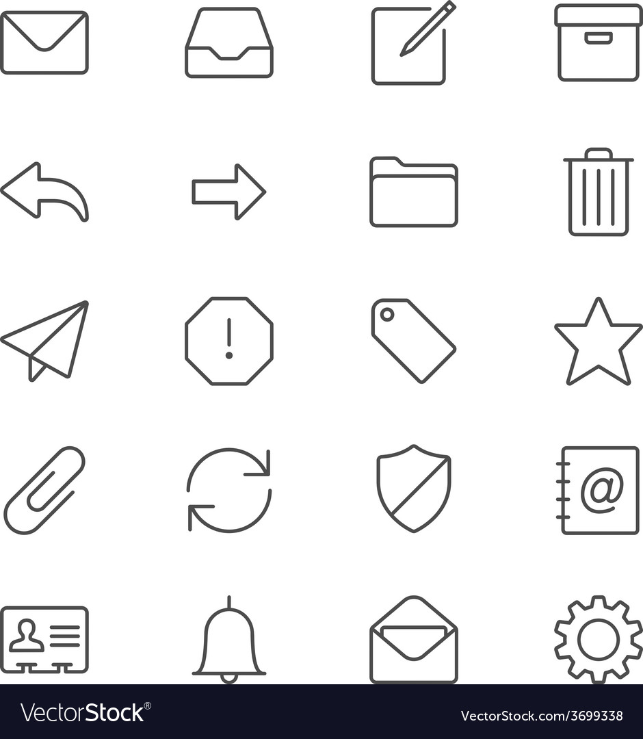Email thin icons vector | Price: 1 Credit (USD $1)