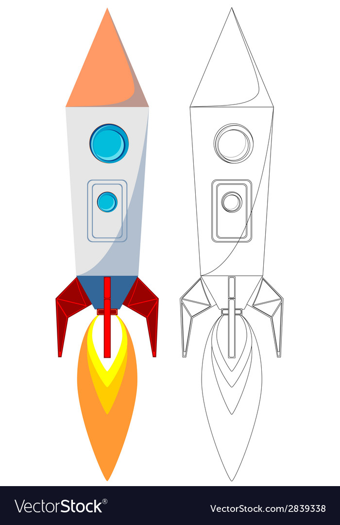 Flying rocket with illyuminotor and flames from vector | Price: 1 Credit (USD $1)