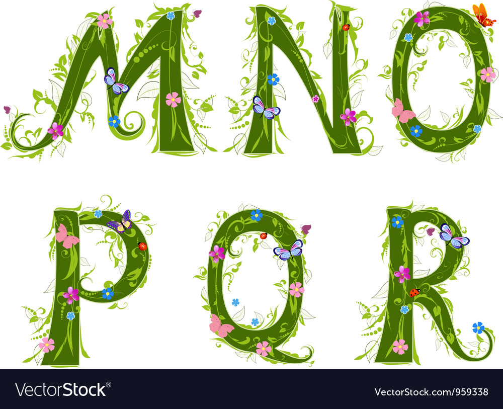 Foliage letter 3 vector | Price: 3 Credit (USD $3)