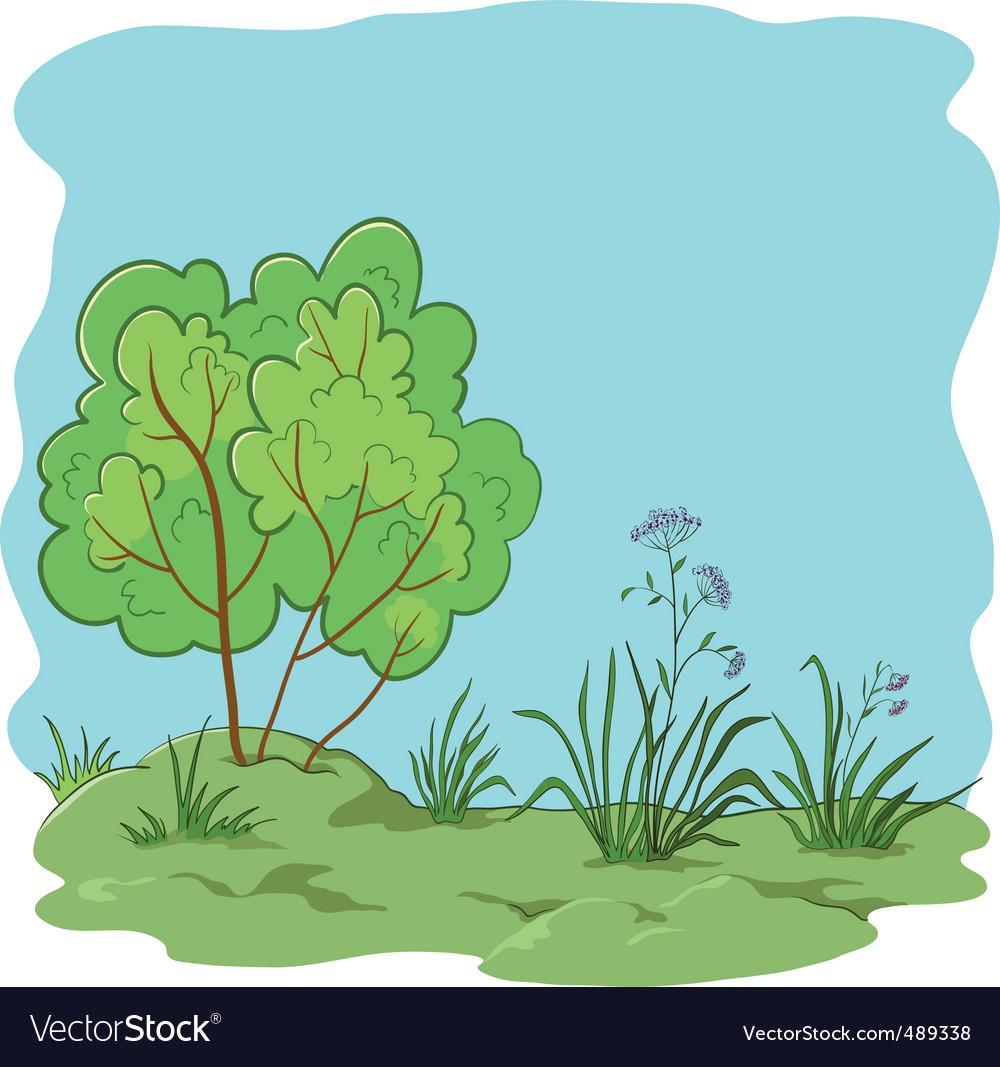 Garden with bush vector | Price: 1 Credit (USD $1)