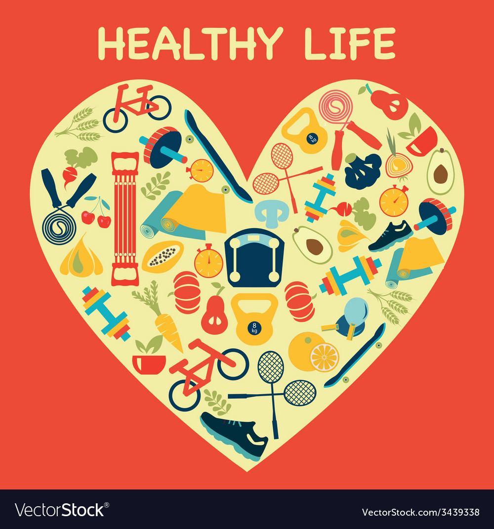 Healthy lifestyle background in heart shape - illu vector | Price: 1 Credit (USD $1)