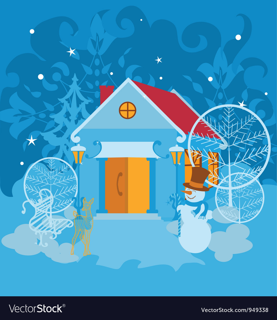 Santa house on winter landscape vector | Price: 1 Credit (USD $1)