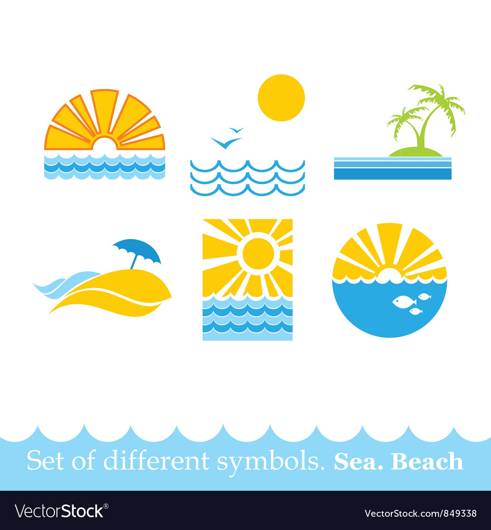 Set of signs sea beach image vector | Price: 1 Credit (USD $1)