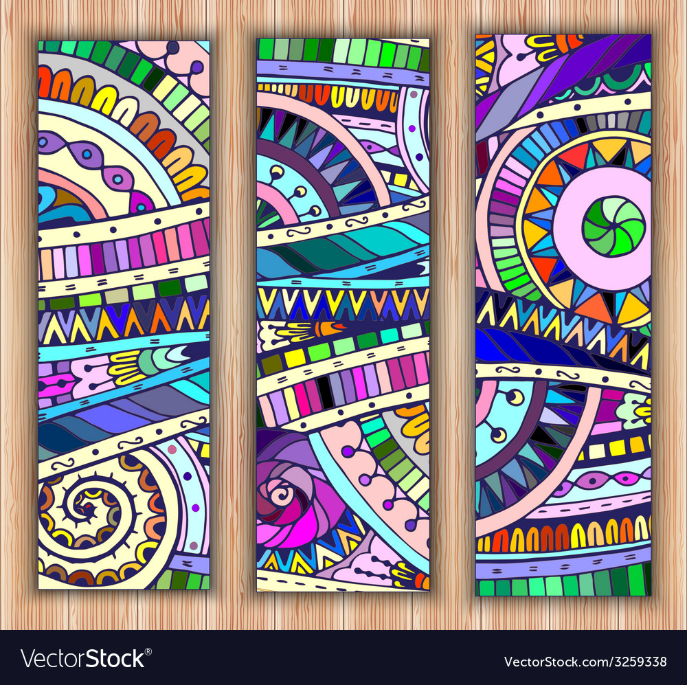 Set of three abstract doodle ethnic tribal hand vector | Price: 1 Credit (USD $1)