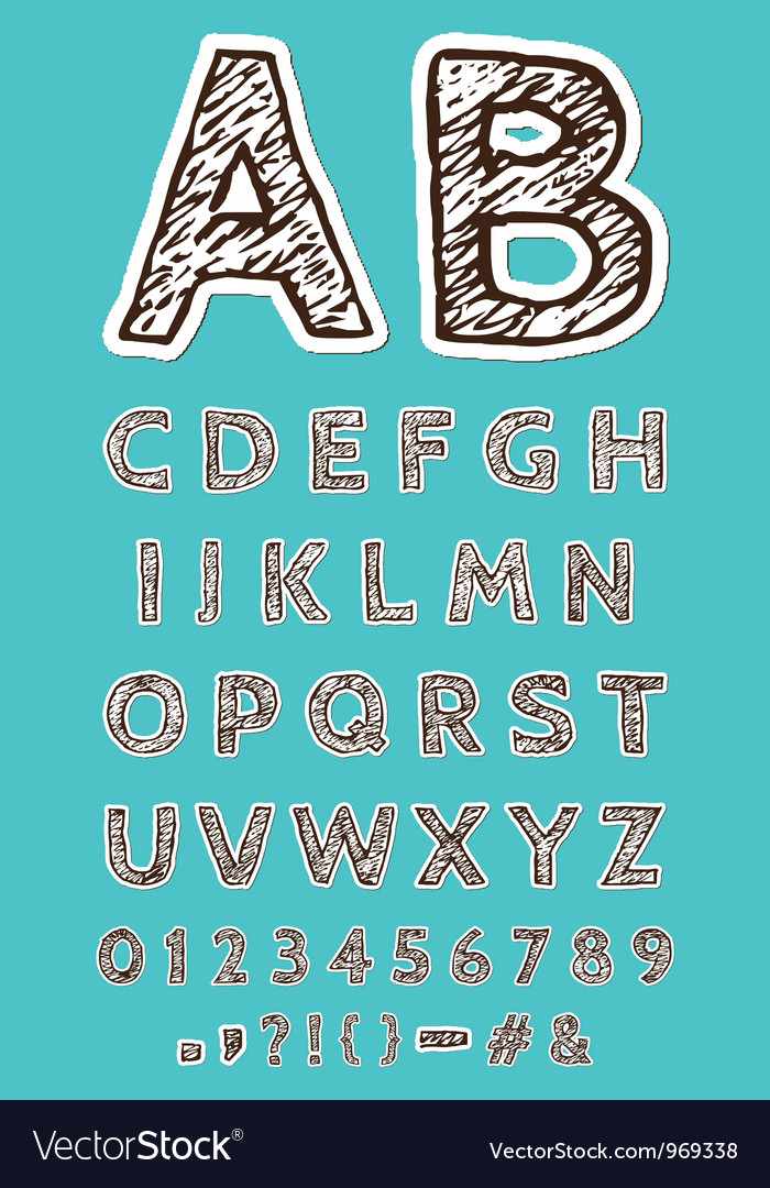 Sketch paper craft font vector | Price: 1 Credit (USD $1)