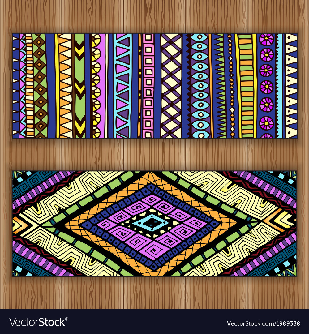 Unique abstract ethnic pattern card set on wood vector | Price: 1 Credit (USD $1)
