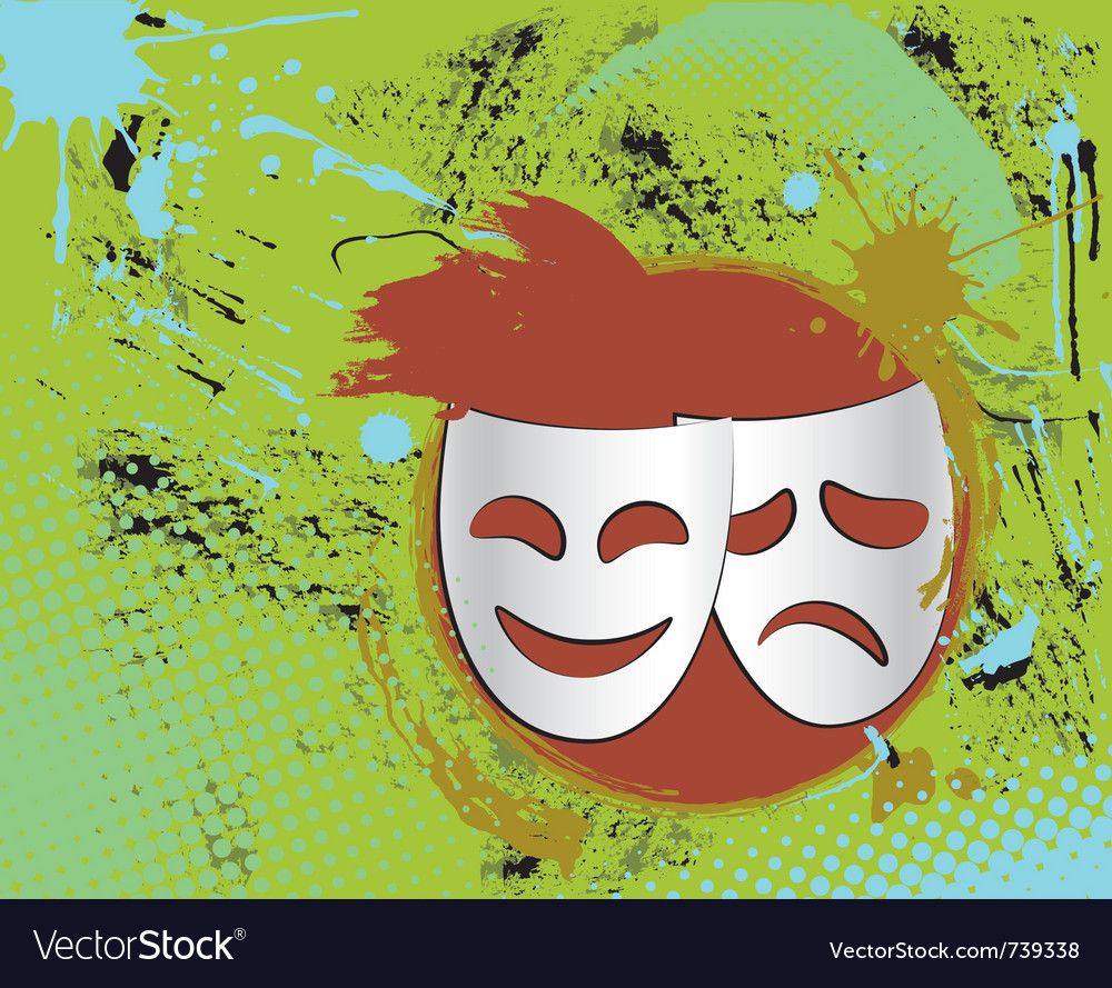 Vintage theater masks emblem in color vector | Price: 1 Credit (USD $1)