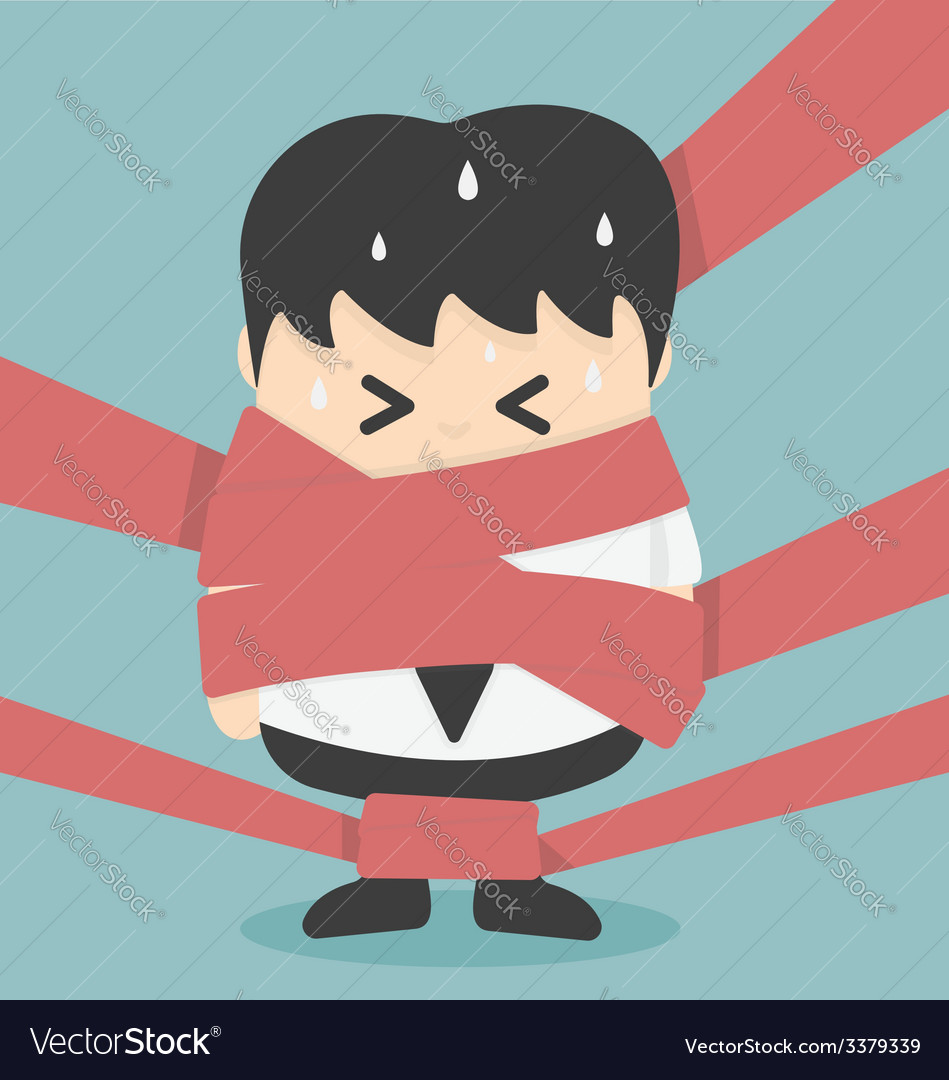 Businessman caught in red tape vector | Price: 1 Credit (USD $1)