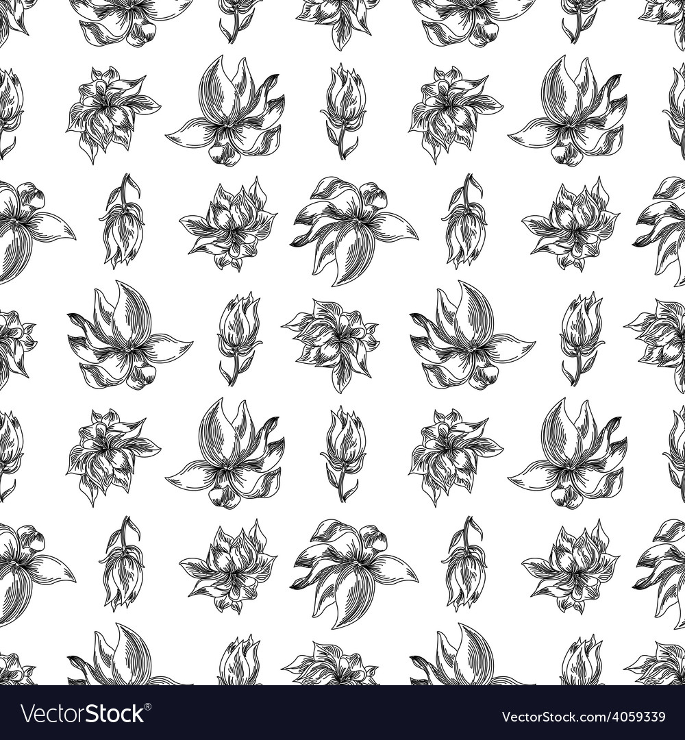 Floral background black white vector | Price: 1 Credit (USD $1)