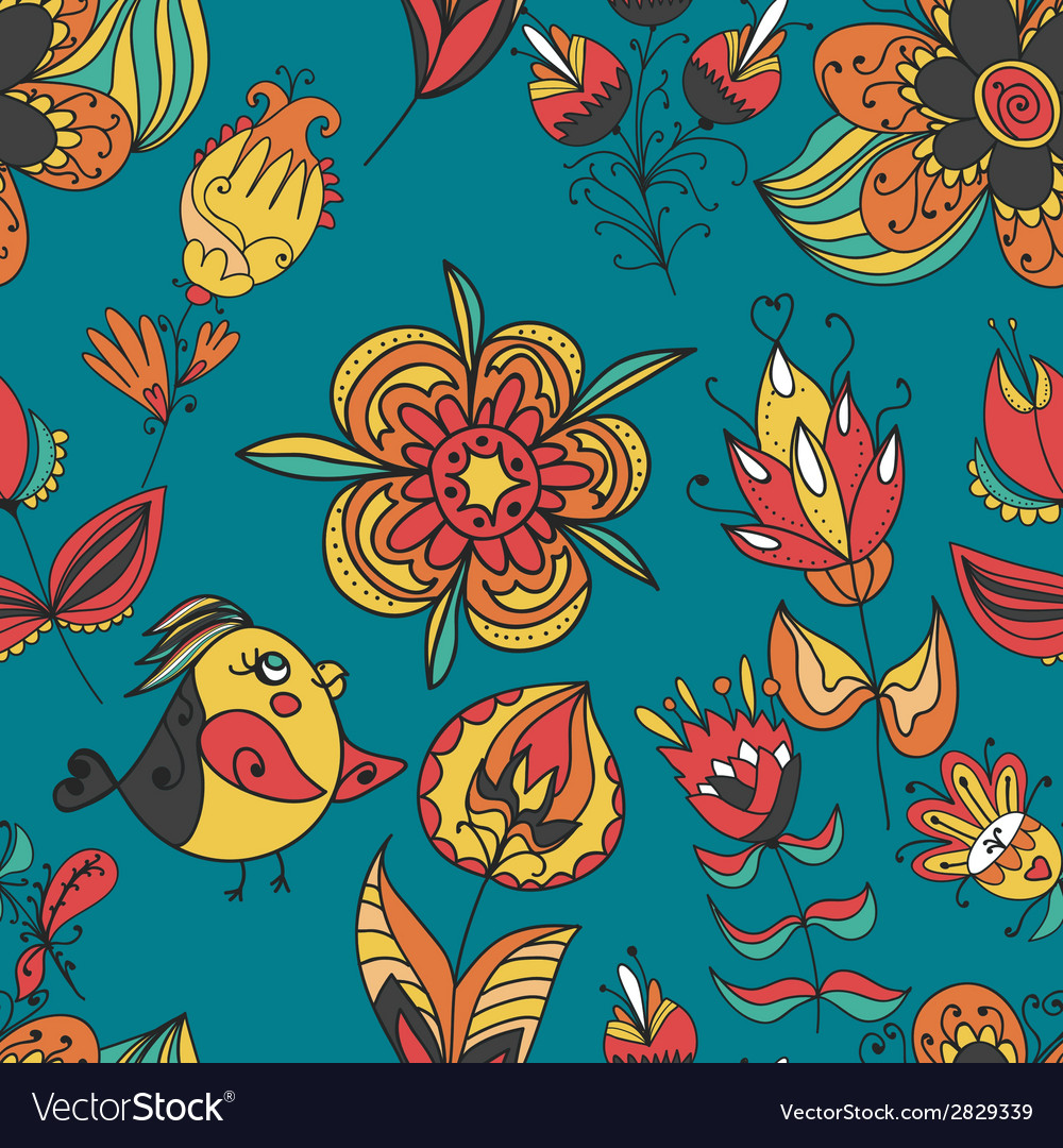 Flowers and birds seamless texture pattern vector | Price: 1 Credit (USD $1)