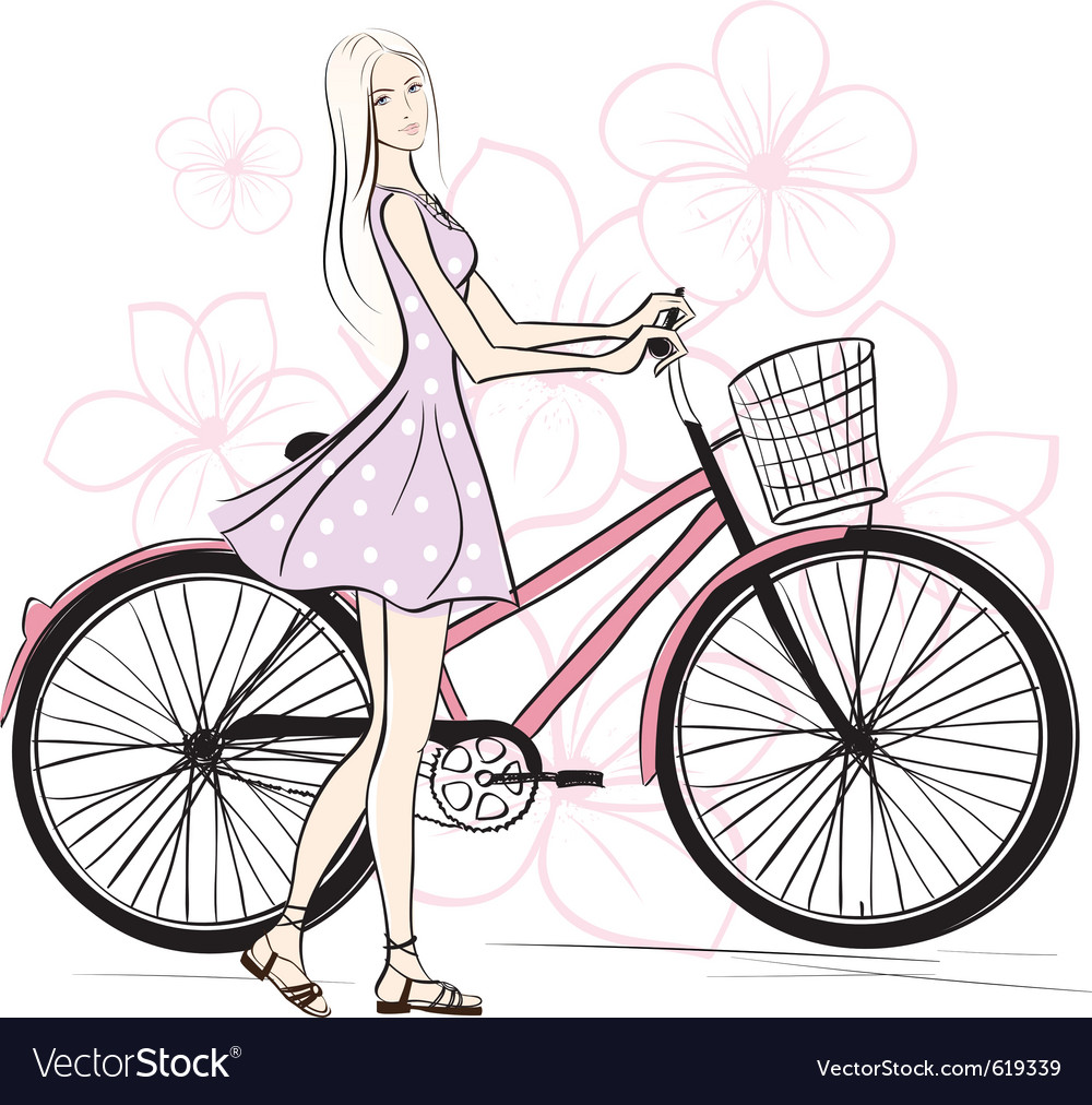 Girl with bicycle vector | Price: 3 Credit (USD $3)