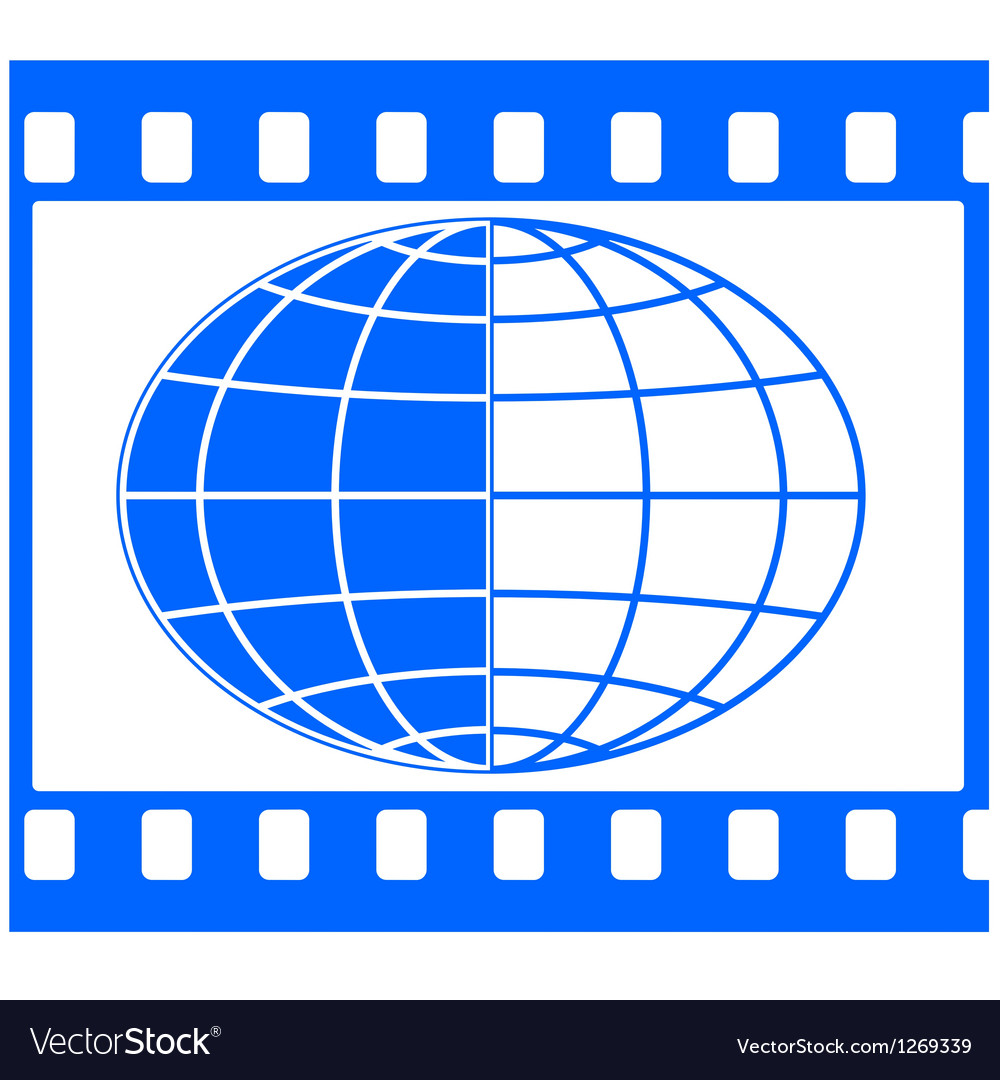 Globe in film frame vector | Price: 1 Credit (USD $1)