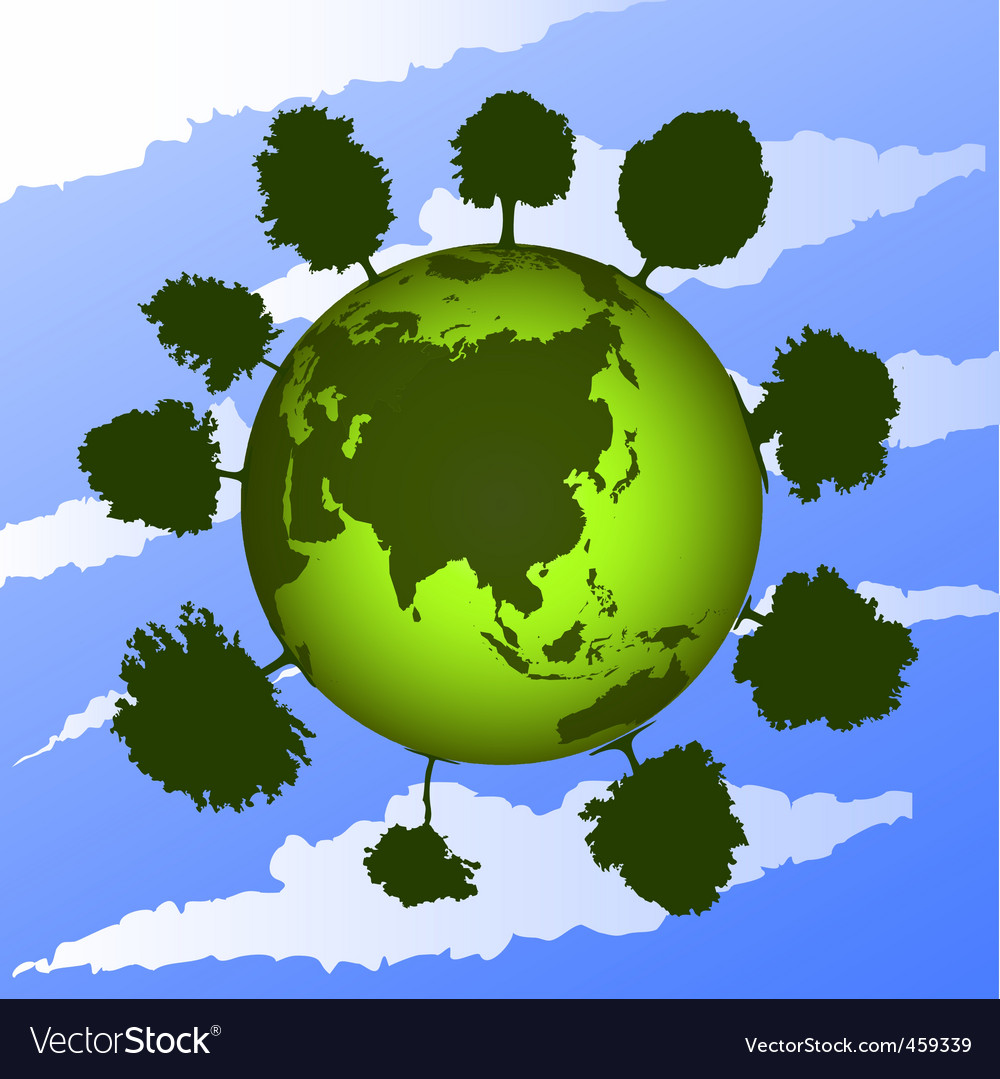 Green earth on blue sky vector | Price: 1 Credit (USD $1)