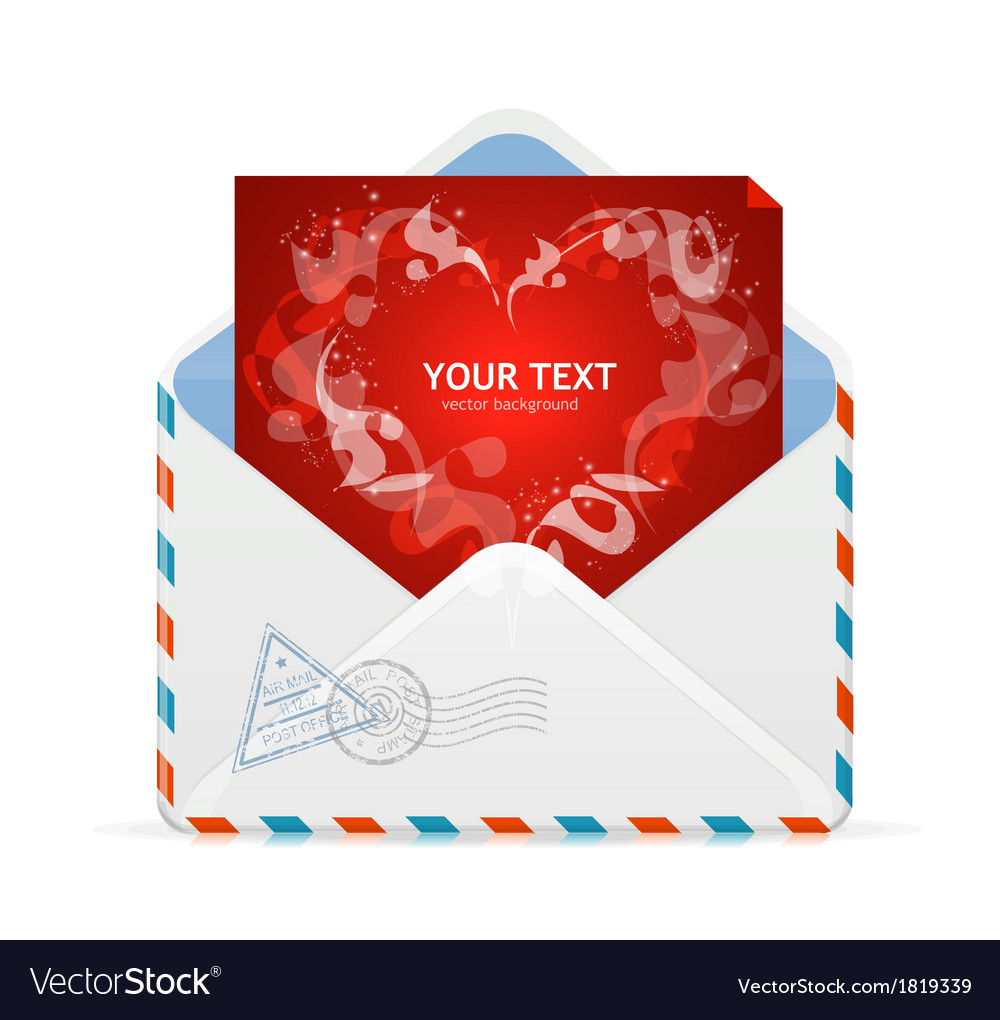 Heart and mail valentines day card vector | Price: 1 Credit (USD $1)