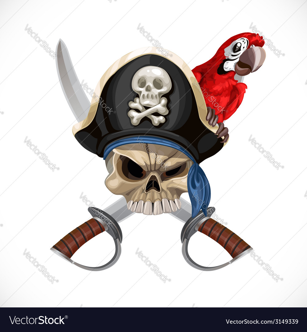 Jolly roger in pirat hat and with sabers and red vector | Price: 3 Credit (USD $3)