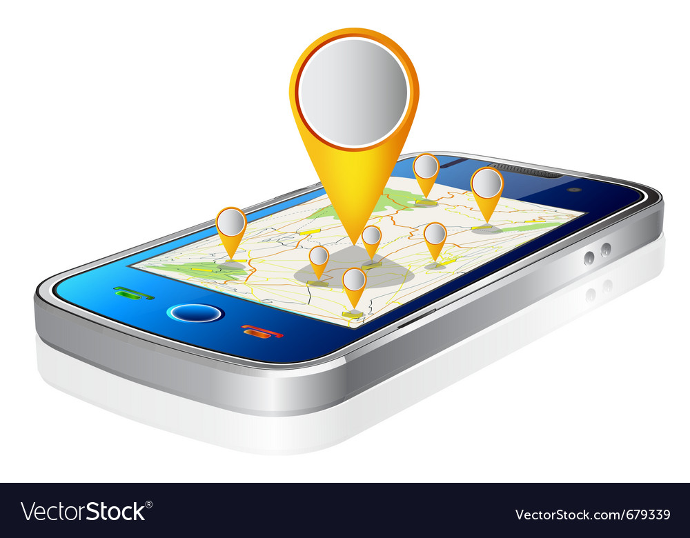 Mobile and map vector | Price: 3 Credit (USD $3)