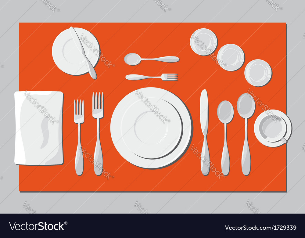 Serving dishes and cutlery vector | Price: 1 Credit (USD $1)