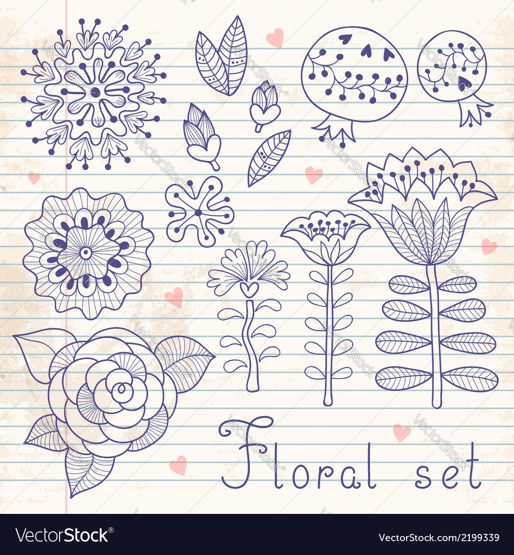 Set of floral elements isolated for your design vector   Price: 1 Credit (USD $1)