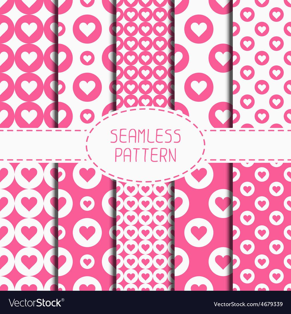 Set of pink romantic geometric seamless pattern vector   Price: 1 Credit (USD $1)