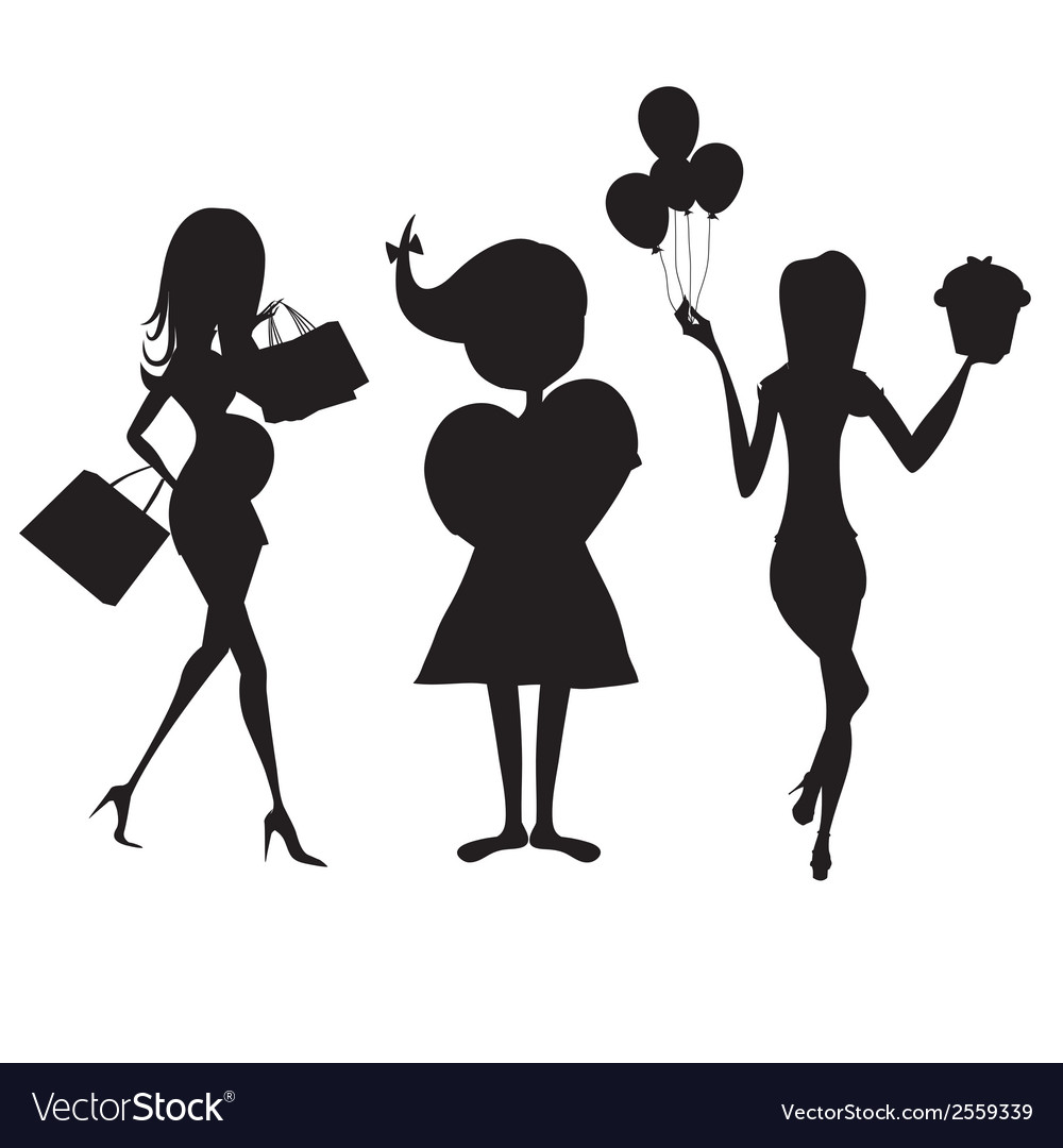 Set of three girls silhouettes at birthday party vector | Price: 1 Credit (USD $1)