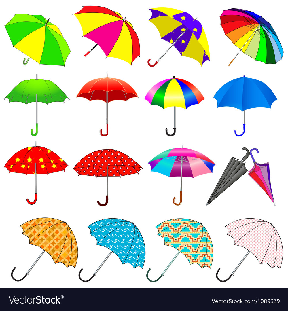Set of umbrellas from the rain vector | Price: 1 Credit (USD $1)