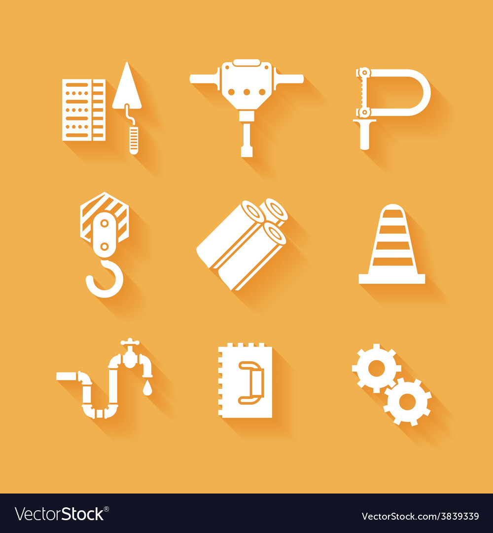 Trendy flat working tools icons white silhouettes vector | Price: 1 Credit (USD $1)