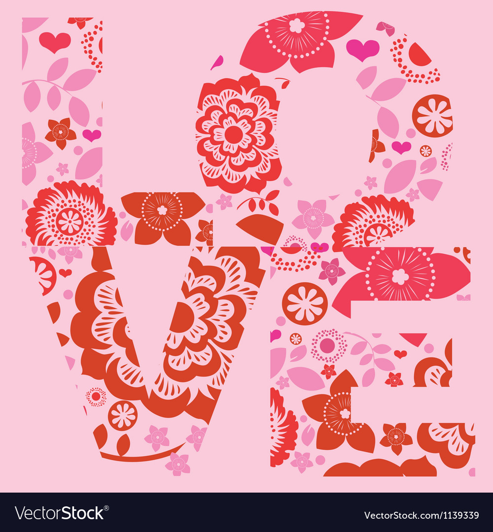 Valentine day love message floral print vector | Price: 1 Credit (USD $1)