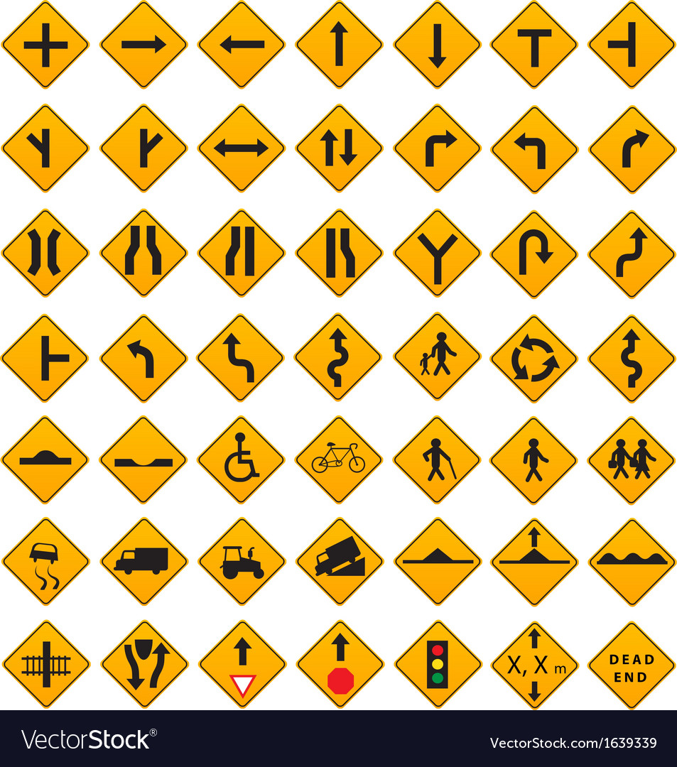 Warning traffic signs set vector | Price: 1 Credit (USD $1)